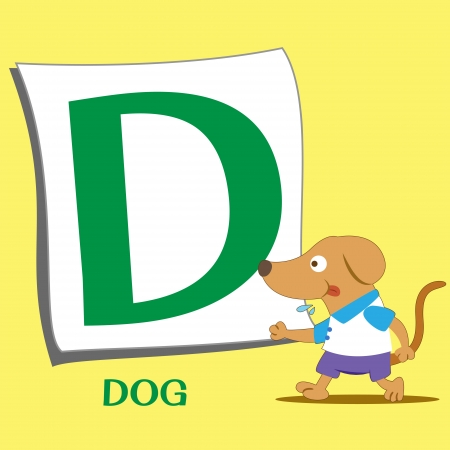 illustration of isolated animal alphabet D with dog Vector