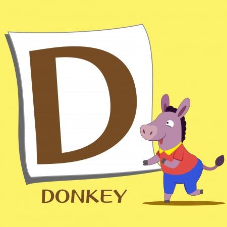 animal alphabet: illustration of isolated animal alphabet D with donkey