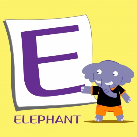 illustration of isolated animal alphabet E with elephant Vector