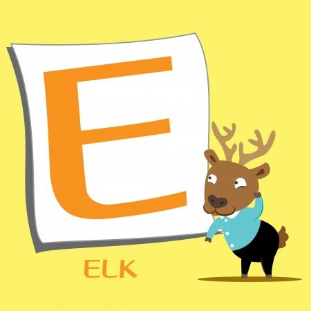 animal alphabet: illustration of isolated animal alphabet E with elk