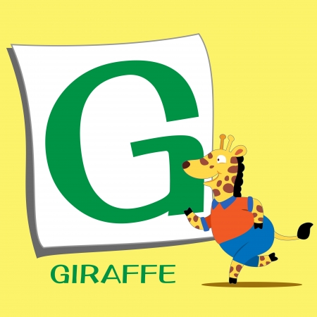 illustration of isolated animal alphabet G with giraffe Vector