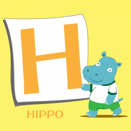 illustration of isolated animal alphabet H with hippo Vector