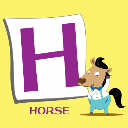 illustration of isolated animal alphabet H with horse Vector