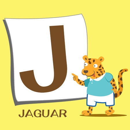 illustration of isolated animal alphabet J with jaguar Vector