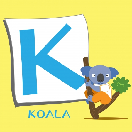 illustration of isolated animal alphabet K with koala Vector