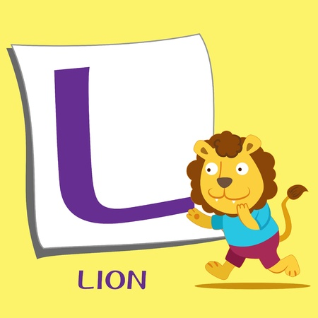 illustration of isolated animal alphabet L with lion Vector