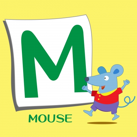 illustration of isolated animal alphabet M with mouse Vector