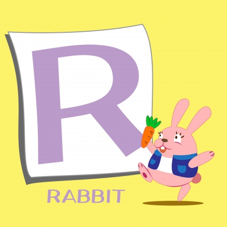 illustration of isolated animal alphabet R with rabbit Vector
