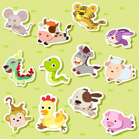 cute rabbit: 12 Chinese Zodiac animal stickers,cartoon vector illustration