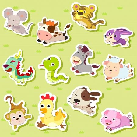 mono caricatura: 12 chinos del zodiaco pegatinas de animales, dibujos animados, ilustraci�n vectorial