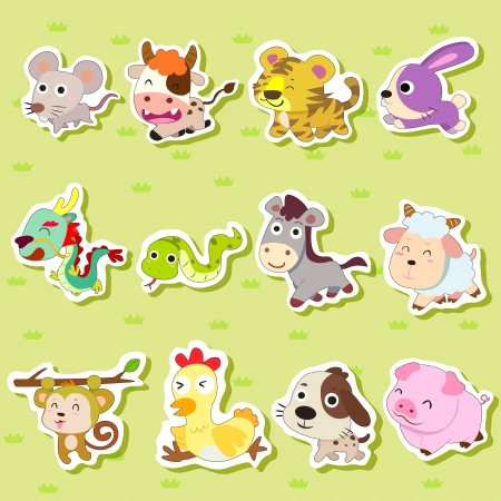 12 Chinese Zodiac animal stickers,cartoon vector illustration
