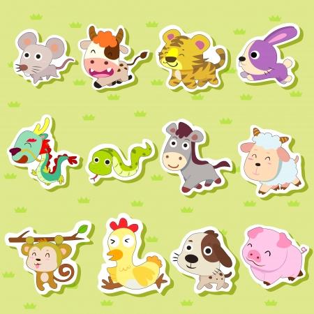 12 chinos del zodiaco pegatinas de animales, dibujos animados, ilustración vectorial Foto de archivo - 15834117