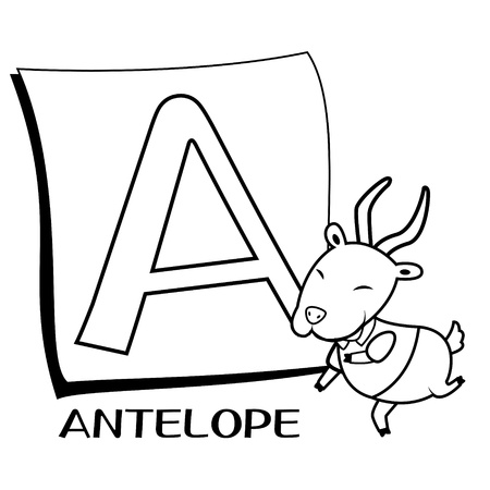 of antelope: Coloring Alphabet for Kids, A with antelope