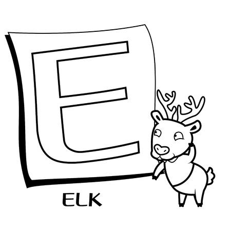 Alfabeto Para Colorear Para Los Niños, E Con Elk Ilustraciones ...