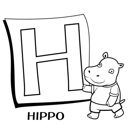 clip art draw: Coloring Alphabet for Kids, H with hippo