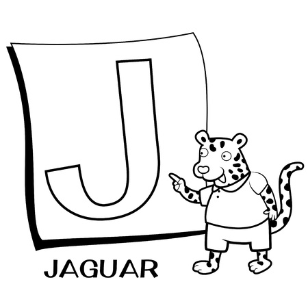 animal alphabet: Coloring Alphabet for Kids, J with jaguar