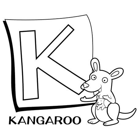 Alfabeto Para Colorear Para Los Niños, Con K Canguro Ilustraciones ...
