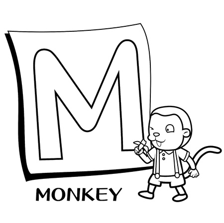Coloring Alphabet for Kids, M with monkey Vector