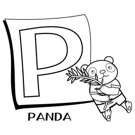 Coloring Alphabet for Kids, P with panda Stock Vector - 15876136