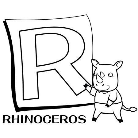 animal alphabet: Coloring Alphabet for Kids, R with rhinoceros