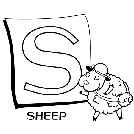 the infancy: Coloring Alphabet for Kids, S with sheep