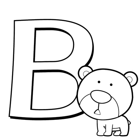 Coloring Alphabet for Kids, B with bear Vector