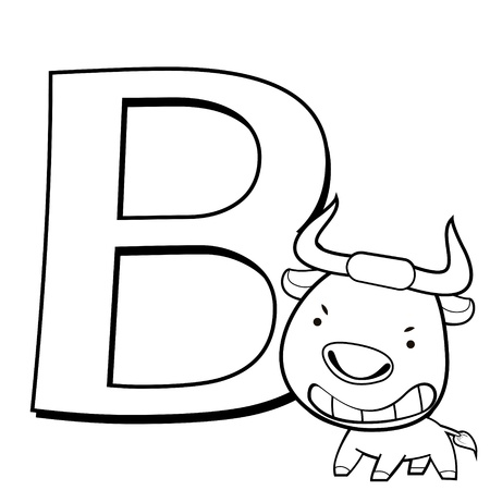 Coloring Alphabet for Kids, B with bull Vector