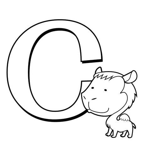 Coloring Alphabet for Kids, C with camel Vector