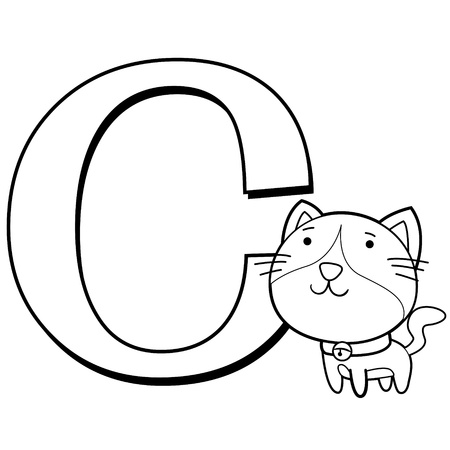 Coloring Alphabet for Kids, C with cat Vector