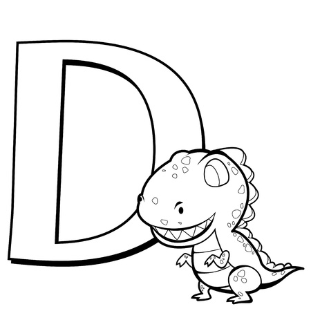 Coloring Alphabet for Kids, D with dinosaur Vector