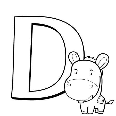 Coloring Alphabet for Kids, D with donkey Vector