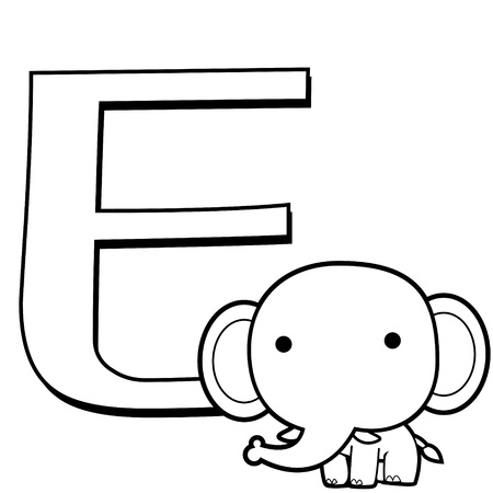 Coloring Alphabet for Kids, E with elephant Vector