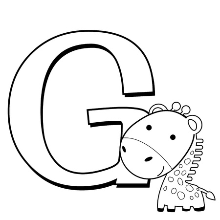 Coloring Alphabet for Kids, G with giraffe Vector