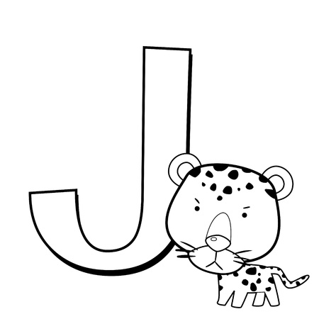 Coloring Alphabet for Kids, J with jaguar Vector