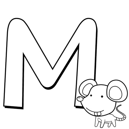 Coloring Alphabet for Kids, M with mouse Vector