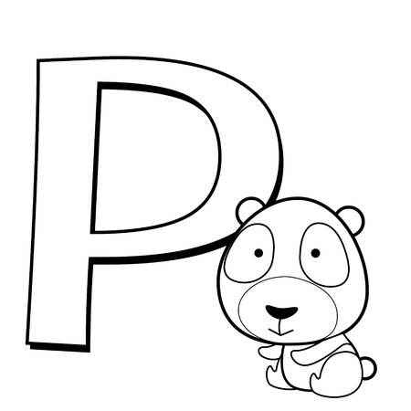 Coloring Alphabet for Kids, P with panda  Vector