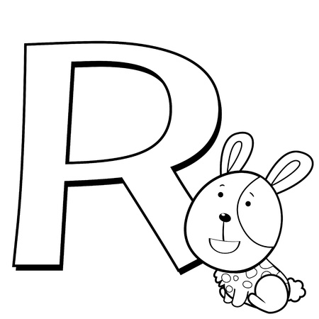 Coloring Alphabet for Kids, R with rabbit  Vector