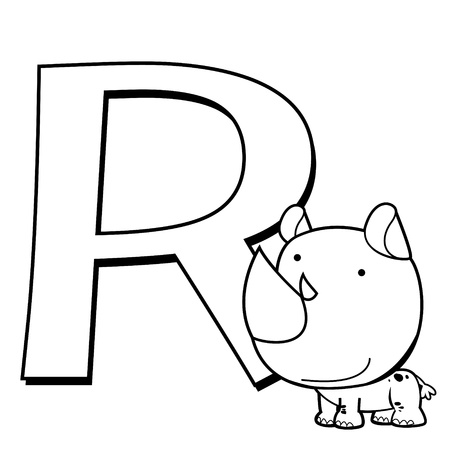 Coloring Alphabet for Kids, R with rhino  Vector