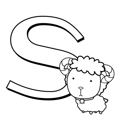 Coloring Alphabet for Kids, S with sheep  Vector