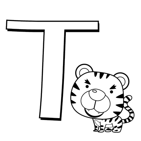 Coloring Alphabet for Kids, T with tiger Vector