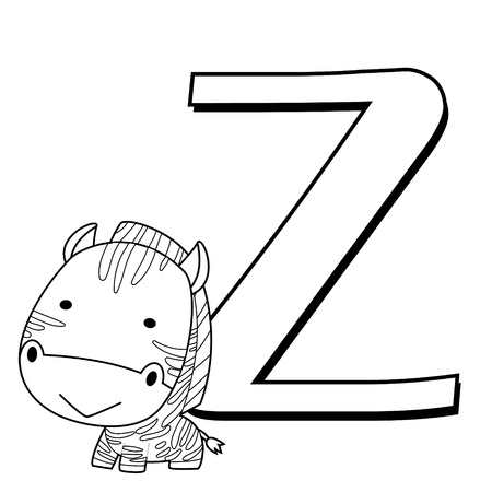 Coloring Alphabet for Kids, Z with zebra Vector