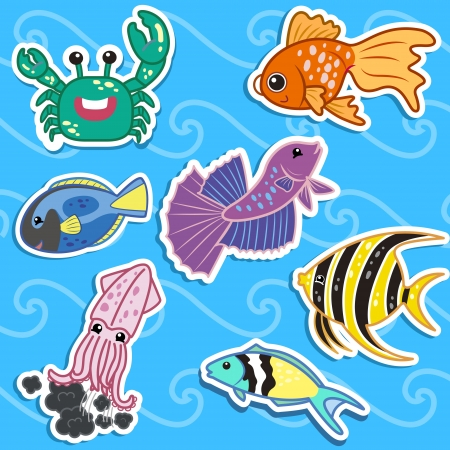 fighting fish: cute sea animal stickers Illustration
