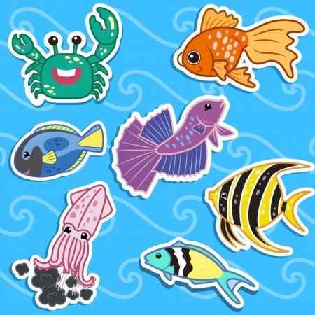 peces caricatura: lindo mar pegatinas de animales Vectores