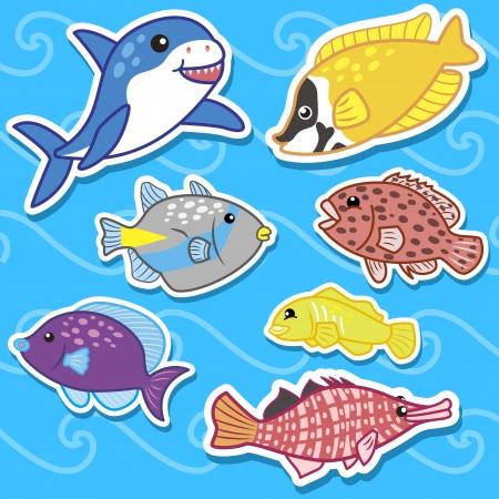 cartoon beach: cute sea animal stickers Illustration