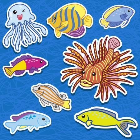 fond marin: autocollants mignons animaux marins