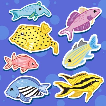 puffer fish: cute sea animal stickers Illustration