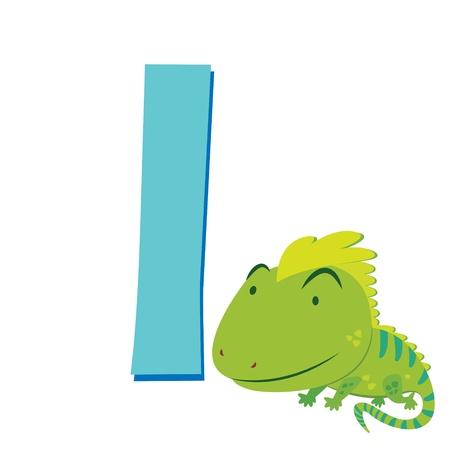 animal alphabet: illustration of isolated animal alphabet I with iguana on white Illustration