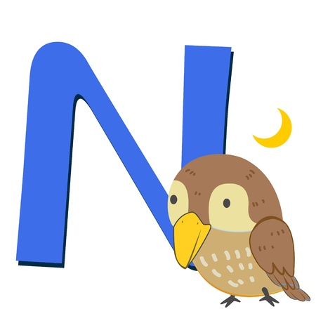 rossignol: illustration of isolated alphabet animal N avec rossignol sur blanc