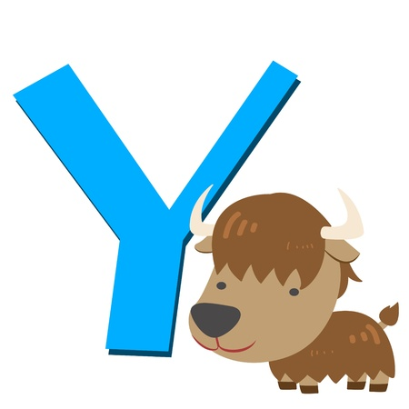 illustration of isolated animal alphabet Y with yak on white Vector