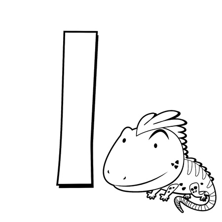 Coloring Alphabet for Kids, I with iguana Stock Vector - 16174571